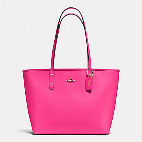 COACH F37785 CITY ZIP TOTE IN CROSSGRAIN LEATHER IMITATION-GOLD/PINK-RUBY