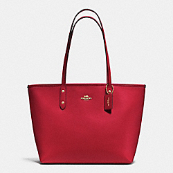 COACH F37785 City Zip Tote In Crossgrain Leather IMITATION GOLD/TRUE RED