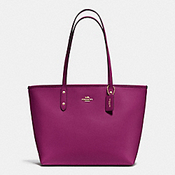 COACH F37785 City Zip Tote In Crossgrain Leather IMITATION GOLD/FUCHSIA