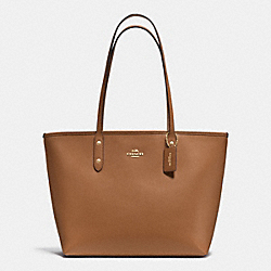 COACH F37785 City Zip Tote In Crossgrain Leather IMITATION GOLD/SADDLE