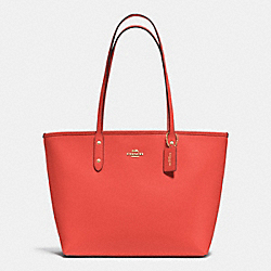 COACH F37785 City Zip Tote In Crossgrain Leather IMITATION GOLD/WATERMELON