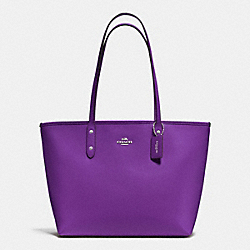 CITY ZIP TOTE IN CROSSGRAIN LEATHER - f37785 - SILVER/PURPLE