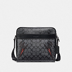COACH F37800 - CHARLES CAMERA BAG IN SIGNATURE CANVAS WITH CUT OUTS CHARCOAL/BLACK/BLACK ANTIQUE NICKEL