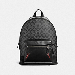 WEST BACKPACK IN SIGNATURE CANVAS WITH CUT OUTS - COACH F37801 - CHARCOAL/BLACK/BLACK ANTIQUE NICKEL