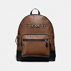 WEST BACKPACK WITH COACH CUT OUT - F37802 - SADDLE MULTI/BLACK ANTIQUE NICKEL