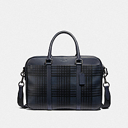 COACH F37808 - PERRY SLIM BRIEF WITH TWILL PLAID PRINT MIDNIGHT NAVY MULTI/BLACK ANTIQUE NICKEL