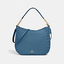 ELLE HOBO WITH LACQUER RIVETS - COACH F37810 - DENIM/LIGHT GOLD