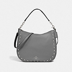 COACH F37810 Elle Hobo With Lacquer Rivets HEATHER GREY/SILVER