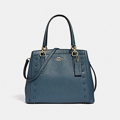 COACH F37816 MINETTA CROSSBODY WITH LACQUER RIVETS<br>蔻驰提供论漆铆钉 牛仔/浅黄金