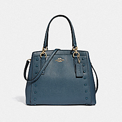 MINETTA CROSSBODY WITH LACQUER RIVETS - F37816 - DENIM/LIGHT GOLD