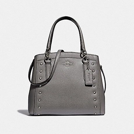 COACH F37816 MINETTA CROSSBODY WITH LACQUER RIVETS<br>蔻驰提供论漆铆钉 HEATHER灰/银