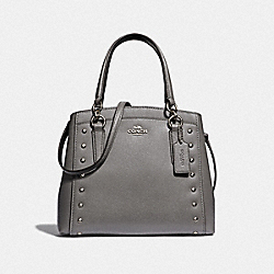 MINETTA CROSSBODY WITH LACQUER RIVETS - F37816 - HEATHER GREY/SILVER
