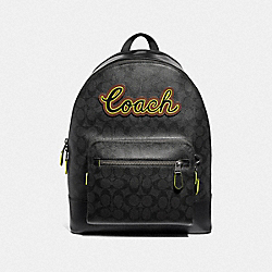 WEST BACKPACK IN SIGNATURE CANVAS WITH COACH SCRIPT - F37819 - BLACK/BLACK MULTI/BLACK ANTIQUE NICKEL