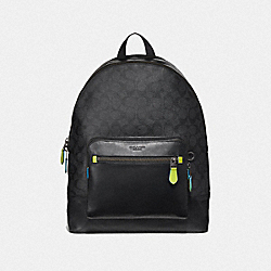 WEST BACKPACK IN SIGNATURE CANVAS - F37820 - BLACK/BLACK MULTI/BLACK ANTIQUE NICKEL