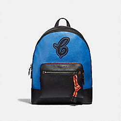 WEST BACKPACK WITH COACH MOTIF - F37826 - NEON BLUE MULTI/BLACK ANTIQUE NICKEL