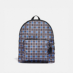 PACKABLE BACKPACK WITH PLUS PLAID PRINT - F37828 - GREY MULTI/BLACK ANTIQUE NICKEL