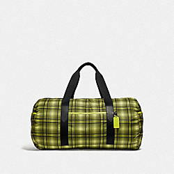 COACH F37829 Packable Duffle With Soft Plaid Print NEON YELLOW MULTI/BLACK ANTIQUE NICKEL