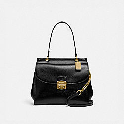 AVARY FLAP CARRYALL - F37834 - BLACK/LIGHT GOLD