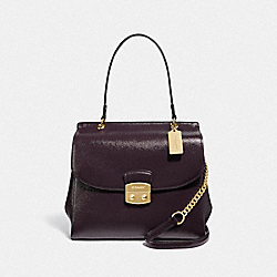 AVARY FLAP CARRYALL - F37834 - OXBLOOD 1/LIGHT GOLD