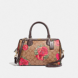 LARGE BENNETT SATCHEL IN SIGNATURE CANVAS WITH JUMBO FLORAL PRINT - F37845 - KHAKI/OXBLOOD MULTI/LIGHT GOLD