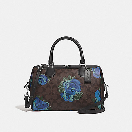 COACH F37845 LARGE BENNETT SATCHEL IN SIGNATURE CANVAS WITH JUMBO FLORAL PRINT<br>蔻驰大BENNETT挎在签名画布上巨型花纹 棕黑色,银色