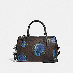 LARGE BENNETT SATCHEL IN SIGNATURE CANVAS WITH JUMBO FLORAL PRINT - F37845 - BROWN BLACK/MULTI/SILVER
