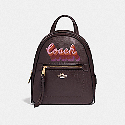 COACH F37846 - ANDI BACKPACK WITH NEON COACH SCRIPT OXBLOOD MULTI/LIGHT GOLD