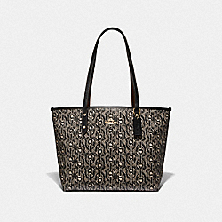 CITY ZIP TOTE WITH CHAIN PRINT - F37854 - BLACK/LIGHT GOLD