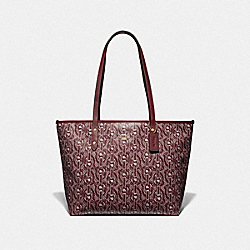 CITY ZIP TOTE WITH CHAIN PRINT - F37854 - CLARET/LIGHT GOLD