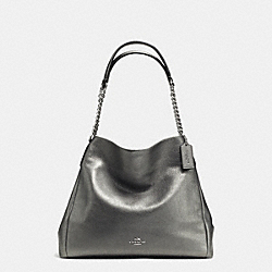 COACH F37856 - PHOEBE CHAIN SHOULDER BAG IN GRAIN LEATHER SILVER/GUNMETAL