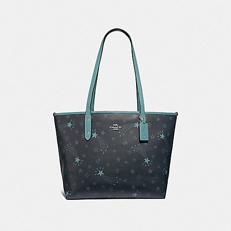 Coach F37869 City Zip Tote With Shooting Stars Print Navy Cloud Multi Silver