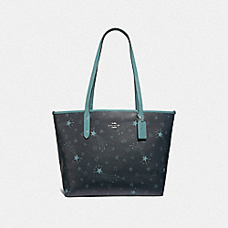 COACH F37869 City Zip Tote With Shooting Stars Print NAVY/CLOUD MULTI/SILVER