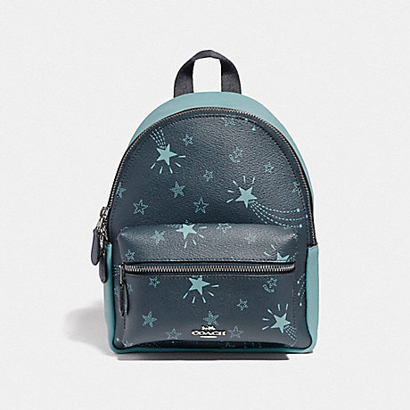 Coach F37870 Mini Charlie Backpack With Shooting Stars Print Navy Cloud Multi Silver
