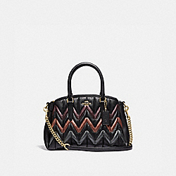 COACH F37872 Mini Sage Carryall With Quilting BLACK/MULTI/LIGHT GOLD