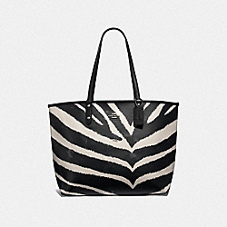 REVERSIBLE CITY TOTE WITH ZEBRA PRINT - F37874 - BLACK CHALK/BLACK/SILVER