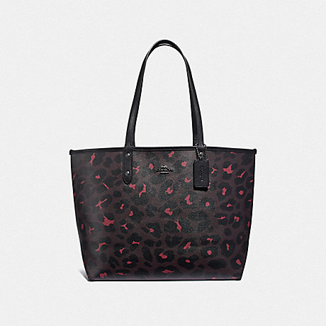 277689b1f COACH F37877 REVERSIBLE CITY TOTE WITH LEOPARD PRINT OXBLOOD/BLACK/BLACK  ANTIQUE NICKEL