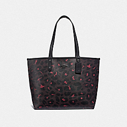 REVERSIBLE CITY TOTE WITH LEOPARD PRINT - F37877 - OXBLOOD/BLACK/BLACK ANTIQUE NICKEL