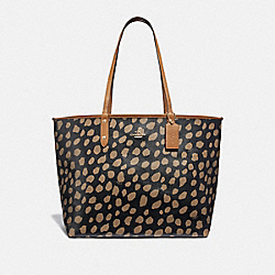 COACH F37878 Reversible City Tote With Deer Spot Print BLACK/LT SADDLE/LIGHT GOLD