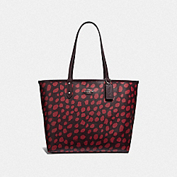 REVERSIBLE CITY TOTE WITH DEER SPOT PRINT - F37878 - RASPBERRY/RASPBERRY/SILVER