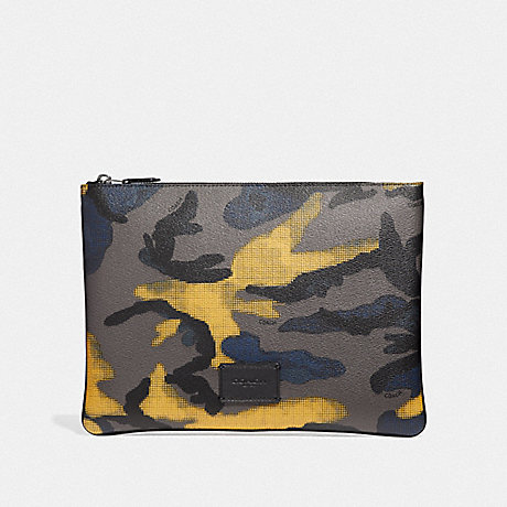 COACH F37881 LARGE POUCH WITH HALFTONE CAMO PRINT GREY-MULTI/BLACK-ANTIQUE-NICKEL