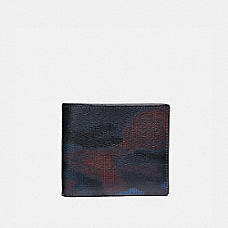 COACH F37891 - 3-IN-1 WALLET WITH HALFTONE CAMO PRINT BLUE MULTI/BLACK ANTIQUE NICKEL