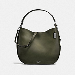 COACH F37905 - COACH NOMAD HOBO IN BURNISHED GLOVETANNED LEATHER DARK GUNMETAL/SURPLUS