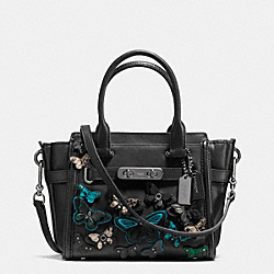 COACH F37912 - COACH SWAGGER 21 CARRYALL WITH BUTTERFLY APPLIQUE IN GLOVETANNED LEATHER DARK GUNMETAL/BLACK MULTI