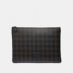 COACH F37946 - LARGE POUCH WITH HOUNDSTOOTH PRINT GREY MULTI/BLACK ANTIQUE NICKEL