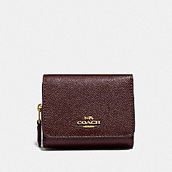 COACH F37968 Small Trifold Wallet METALLIC CURRANT/OXBLOOD 1/LIGHT GOLD