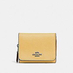 COACH F37968 Small Trifold Wallet SUNFLOWER/BLACK ANTIQUE NICKEL