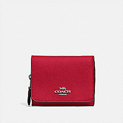 COACH F37968 Small Trifold Wallet BRIGHT CARDINAL/SILVER