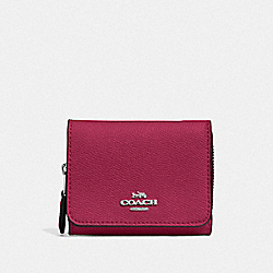 COACH F37968 Small Trifold Wallet SV/DARK FUCHSIA
