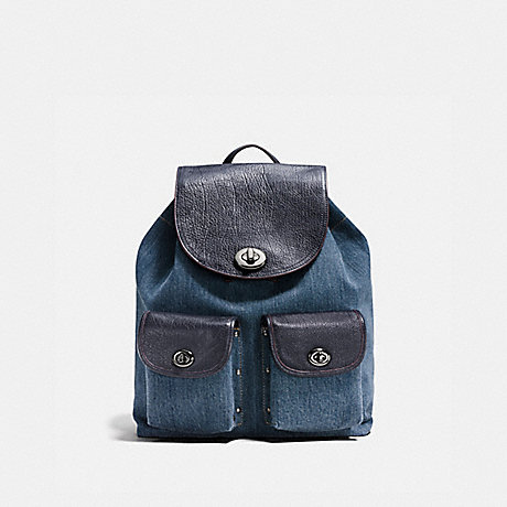 COACH F37975 TURNLOCK RUCKSACK IN COLORBLOCK DENIM/NAVY/DARK-GUNMETAL