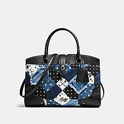 COACH F37976 Mercer Satchel 30 In Canyon Quilt Denim DARK GUNMETAL/DENIM SKULL PRINT